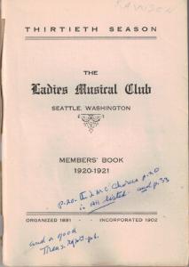 1920-1921 Members' Book
