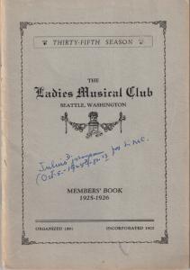1925-1926 Members' Book