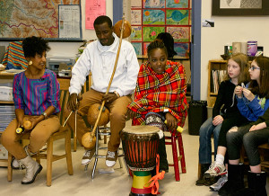 African musicians in a classroom