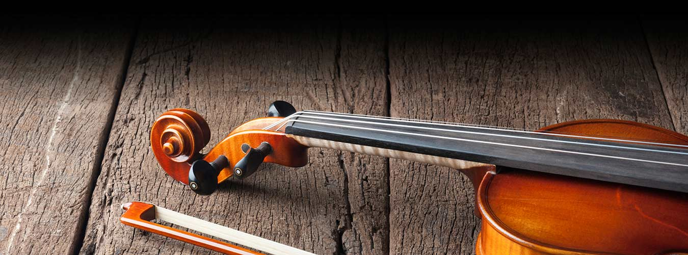 Violin on a rustic wood background